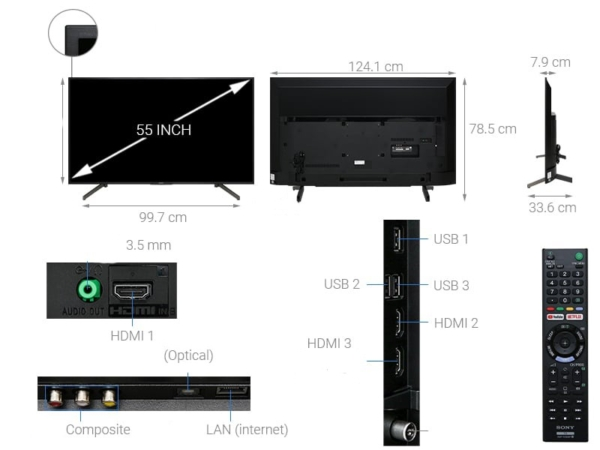 تلویزیون هوشمند سونی مدل KD-55X7000G سایز 55 اینچ